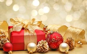 Картинка украшения, красный, lights, огни, ленты, коробка, подарок, шары, лук, Новый год, red, new year, balls, …