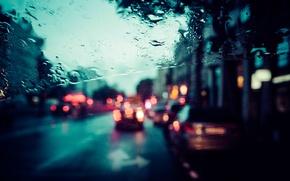 Картинка стекло, город, дождь, улица, Париж