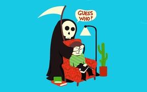 Обои юмор, смерть, смерть с косой, угадай кто, сюрприз