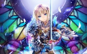 Картинка девушка, меч, фэнтези, арт, доспех, toi