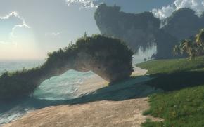 Картинка песок, море, туман, пальмы, скалы, арт, дымка, klontak