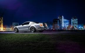 Картинка Mustang, Ford, Dark, Muscle, Car, Downtown, American, Rear, Nigth