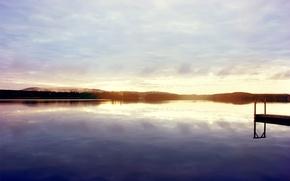Картинка небо, закат, озеро, берег, пристань