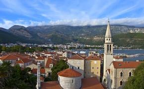Картинка небо, облака, горы, здания, Черногория, Будва, Budva