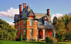 Картинка осень, деревья, дом, газон, забор, США, особняк, кусты, Troy
