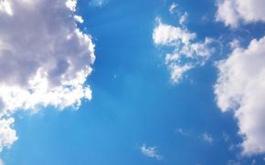 Картинка небо, облака, лучи, тучи, синева, sky, clouds