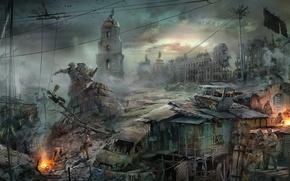 Картинка город, апокалипсис, арт, конец света, пустош, Богдан