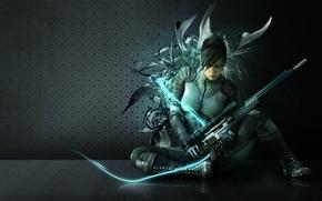 Картинка девушка, оружие, стена, абстракции, неон, костюм, форма, снайпер, снайперская винтовка, sniper