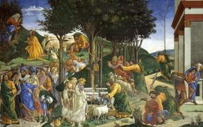 Картинка картина, мифология, Сандро Боттичелли, Сцены из Жизни Моисея