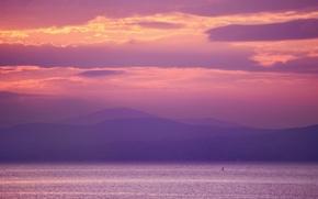 Картинка sea, sunset, mountains