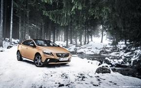 Картинка снег, деревья, ель, Volvo, речка, Volvo V40, Cross County