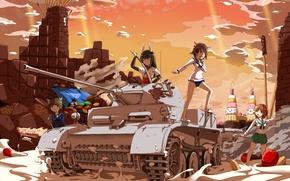 Картинка небо, облака, закат, оружие, девушки, шоколад, спички, катана, аниме, клубника, арт, танк, сладости, школьницы, strike …