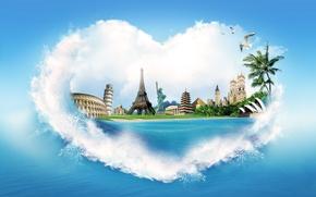 Обои море, вода, брызги, пальмы, креатив, берег, сердце, эйфелева башня, чайки, пирамида, колизей, статуя свободы, дворец