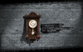 Картинка часы, гранж, стих