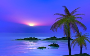 Картинка море, небо, облака, пейзаж, закат, природа, пальма, остров