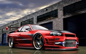 Картинка Nissan, Art, Skyline, R34, Nismo