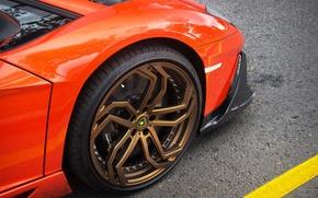 Обои Aventador, Lamborghini, orange, колесо