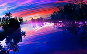 Картинка отражение, зарево, деревья, озеро, рябь, небо, река, облака, закат