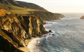 Картинка море, волны, вода, пейзаж, берег, landscape, Sea, клифф