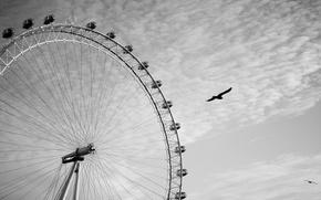 Картинка небо, облака, птицы, лондон, чёрно-белое, колесо обозрения, london, london eye, лондонский глаз, летят