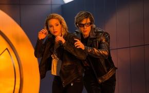 Обои кадр, Evan Peters, Эван Питерс, куртка, Quicksilver, Raven, Peter Maximoff, Mystique, Jennifer Lawrence, Люди Икс: ...