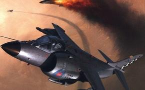 Картинка рисунок, бой, British Aerospace, Харриер, Sea Harrier FRS Mk.I