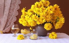 Картинка желтый, лимон, бокал, букет, рудбекия