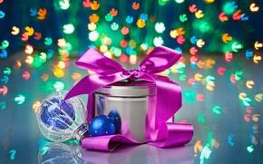 Картинка праздник, подарок, боке, ёлочная игрушка