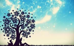 Картинка небо, трава, звезды, дерево, мальчик, девочка, книга, цветочки, сидят