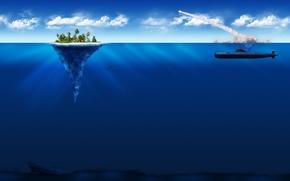 Обои минимализм, подлодка, остров