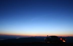 Картинка машина, небо, пейзаж, вечер