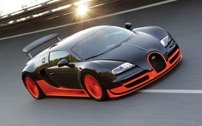 Картинка солнце, трасса, Bugatti Veyron, бугатти, Super Sport, Супер Спорт, 16.4