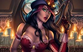 Картинка грудь, девушка, шляпа, арт, очки, охотник, арбалет, helsing