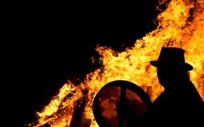Картинка огонь, пламя, силуэт, костер, шаман