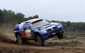 Картинка Синий, Спорт, Volkswagen, Гонка, Touareg, Rally, Dakar