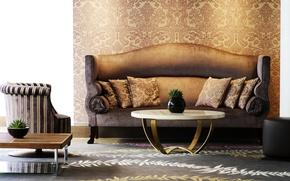 Картинка дизайн, стиль, комната, диван, ковер, мебель, интерьер, кресло, подушки, столик