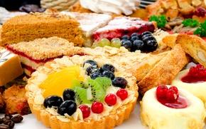 Обои тарталетка, киви, выпечка, десерт, сладкое, ягоды, торты, фрукты, пирожное, смородина, виноград