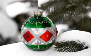 Картинка снег, елка, новый год, рождество, шарик, украшение