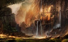 Картинка горы, арт, водопады, город, фэнтези, Waqas Mallick, здания, купол