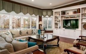 Картинка дизайн, стиль, диван, окна, подушки, телевизор, шторы, гостиная