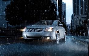 Обои дорога, капли, машины, city, город, дождь, road, mercury sable rain, water drops