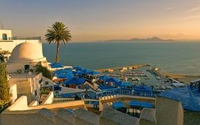 Обои остров, Тунис, пляж, отель, море, пристань для яхт, лето, небо, закат