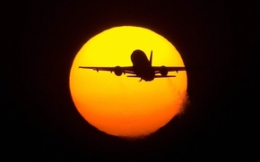 Обои самолет, Солнце, полет
