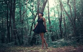 Картинка girl, forest, dress, legs, trees, woman, model, mood, bokeh, situation, female, posture, ground, bare feet