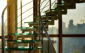Картинка небо, стекло, солнце, лучи, город, вид, лестница, офис, ступеньки