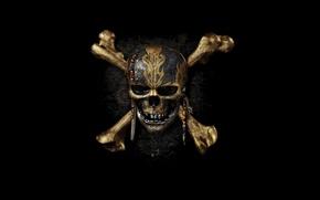 Картинка Johnny Depp, cinema, skull, logo, fantasy, Disney, pirate, dead, movie, Pirates of the Caribbean, hair, …