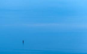 Обои море, человек, минимализм