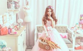 Обои стиль, платье, комната, Девушка, азиатка