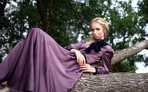 Обои взгляд, девушка, платье, Эля