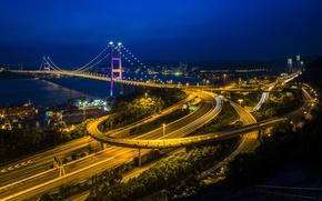 Картинка небо, ночь, мост, огни, гонконг, Hong Kong
